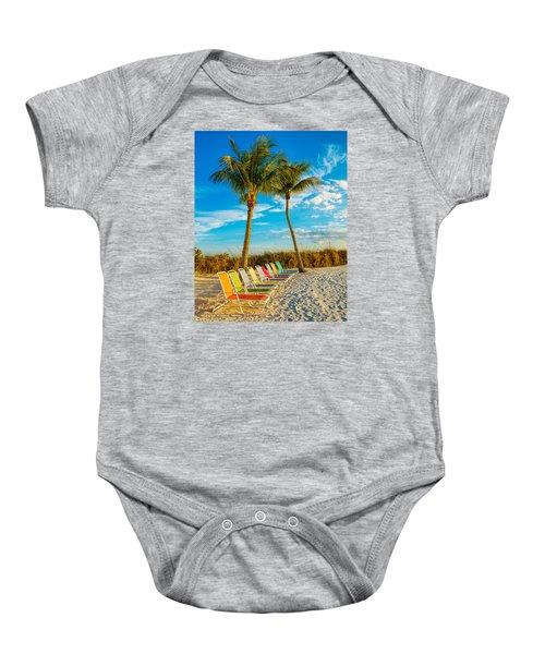 Beach Lounges Under Palms Baby Onesie