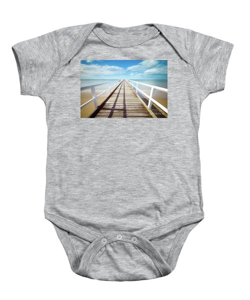 Baby Onesie featuring the photograph Beach Walk by MGL Meiklejohn Graphics Licensing