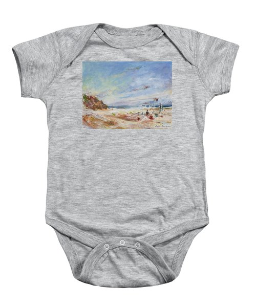 Beachy Day - Impressionist Painting - Original Contemporary Baby Onesie