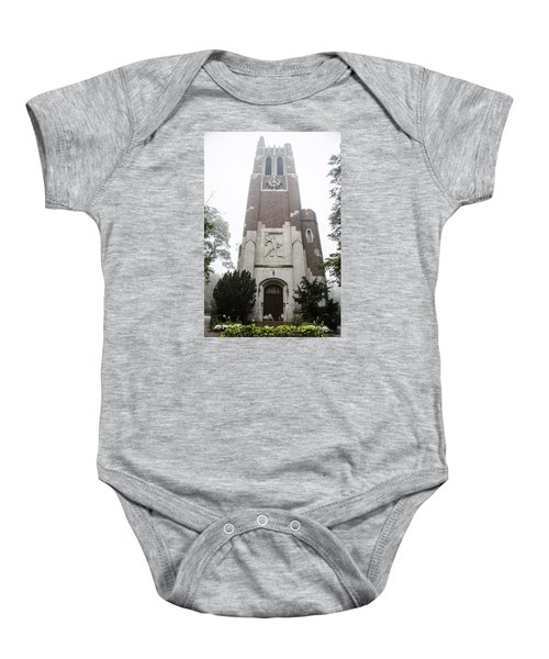 Beaumont Tower In The Fog  Baby Onesie