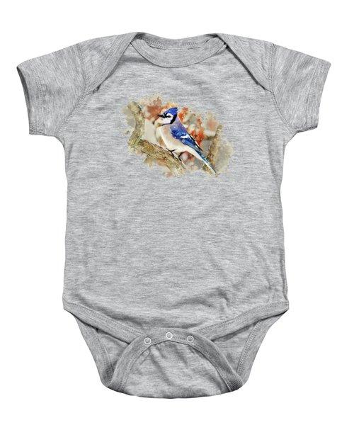 Beautiful Blue Jay - Watercolor Art Baby Onesie
