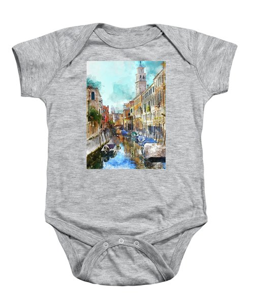 Beautiful Boats In Venice, Italy Baby Onesie