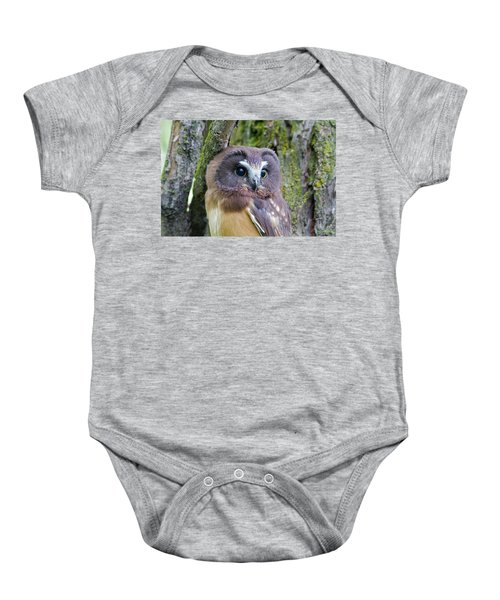 Beautiful Eyes Of A Saw-whet Owl Chick Baby Onesie