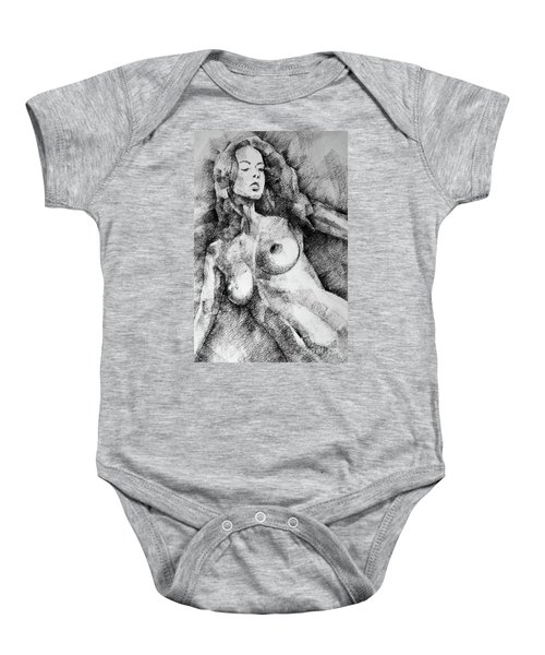 Beautiful Girl Close Up Standing Pose Art Drawing Baby Onesie