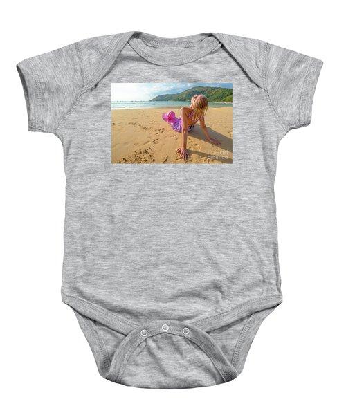 Beautiful Woman Sunbathing On Beach Baby Onesie
