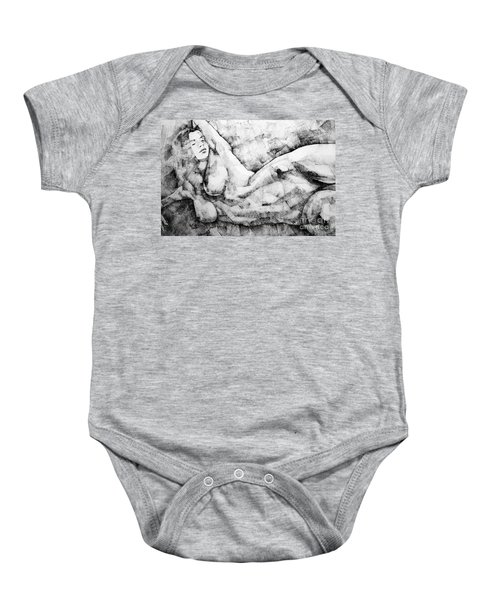 Beautiful Young Girl Pencil Art Drawing Baby Onesie