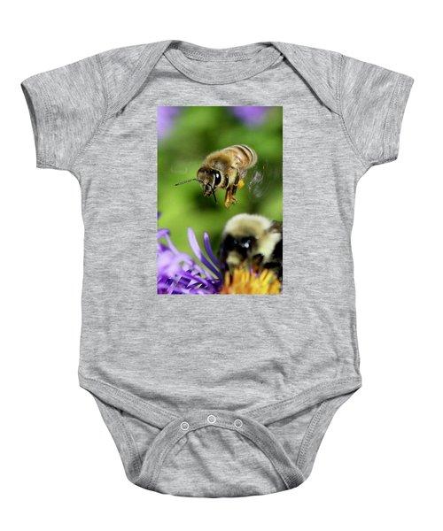 Bee In Flight  Baby Onesie