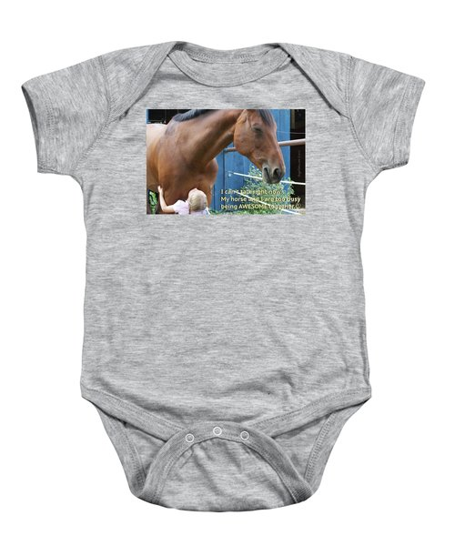 Being Awesome With My Horse Baby Onesie