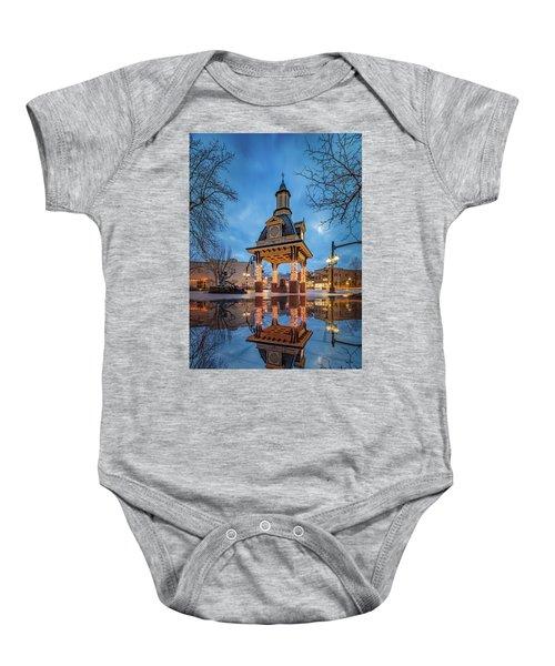 Bell Tower  In Beaver  Baby Onesie by Emmanuel Panagiotakis
