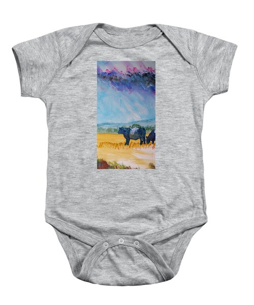 Belted Galloway Cows Narrow Painting Baby Onesie