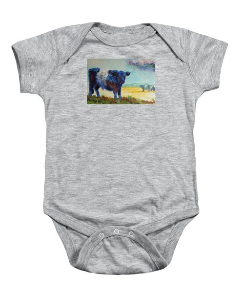 Belted Galloway Cows Painting - About To Rain Baby Onesie