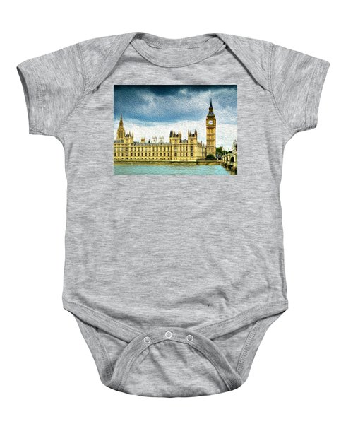 Big Ben And Houses Of Parliament With Thames River Baby Onesie