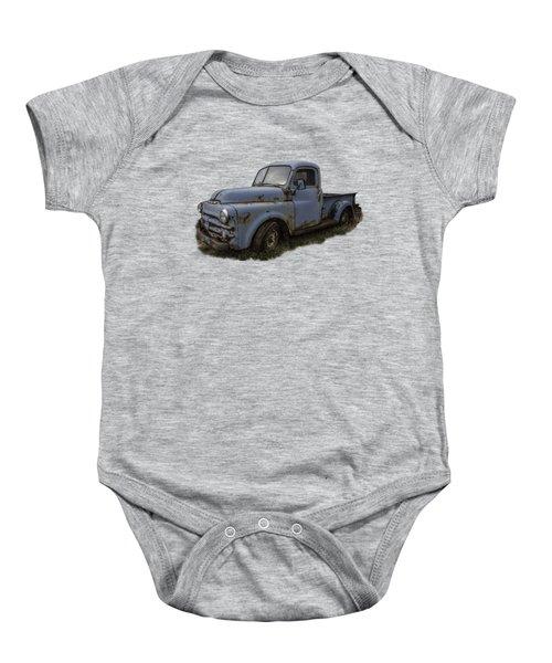 Big Blue Dodge Alone Baby Onesie by Debra and Dave Vanderlaan