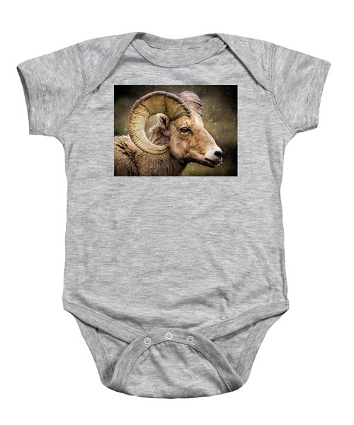 Bighorn Sheep In Winter Baby Onesie