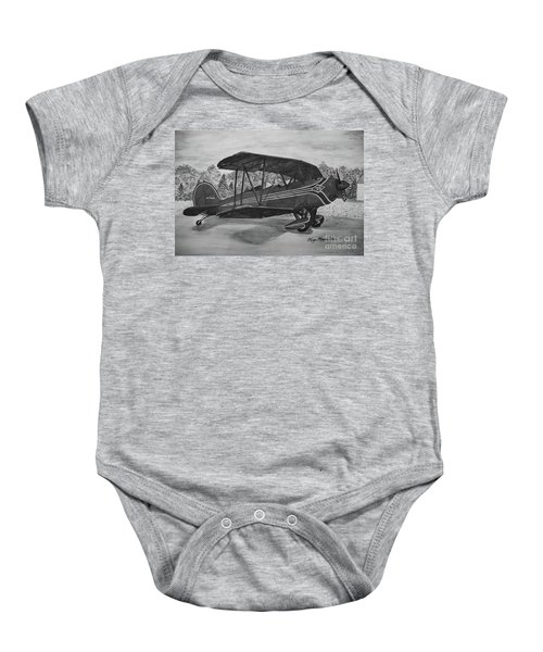 Biplane In Black And White Baby Onesie by Megan Cohen