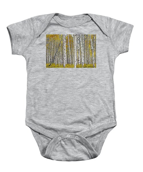 Birch Tree Grove With A Touch Of Yellow Color Baby Onesie