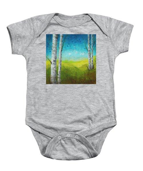 Birches In Green Baby Onesie
