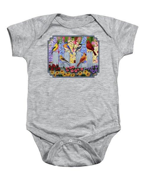 Bird Painting - Spring Garden Party Baby Onesie by Crista Forest