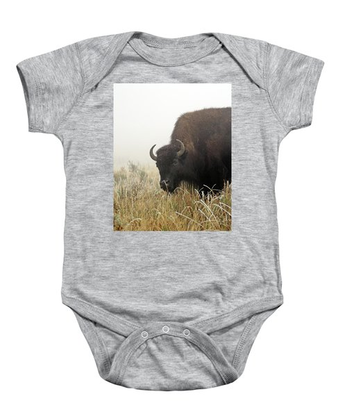 Bison In The Frosty Morning Baby Onesie