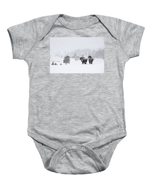 Bison In The Snow Baby Onesie