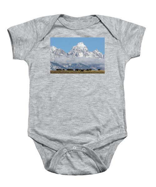Bison In The Tetons Baby Onesie