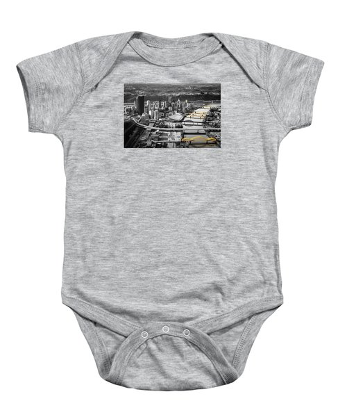Black And Gold Pittsburgh  Baby Onesie