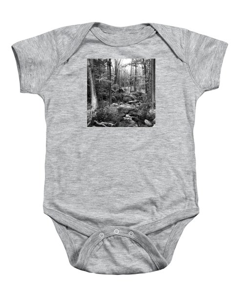 Black And White Babbling Brook Baby Onesie