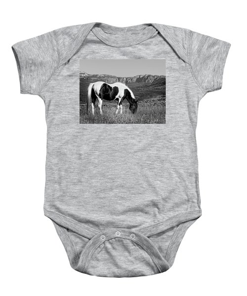Black And White Horse Grazing In Wyoming In Black And White  Baby Onesie
