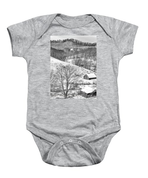 Black And White In Winter Baby Onesie