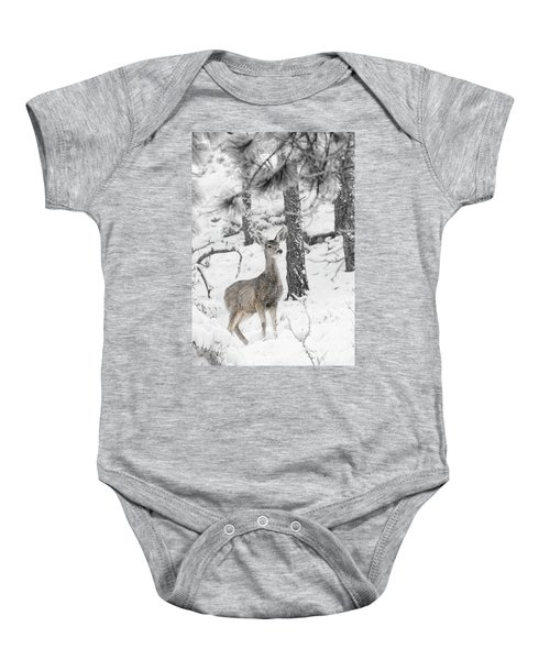 Black And White Mule Deer In Heavy Snowfall Baby Onesie