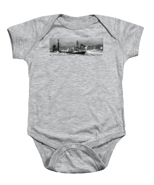 Black And White Panorama Of Downtown Dallas Skyline From South Houston Street - Dallas North Texas Baby Onesie