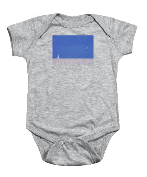 Black And White Sailboat And Seagull Baby Onesie