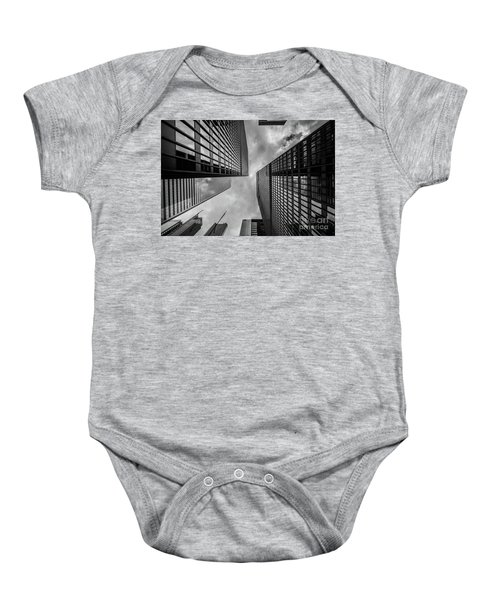 Baby Onesie featuring the photograph Black And White Skyscraper by MGL Meiklejohn Graphics Licensing
