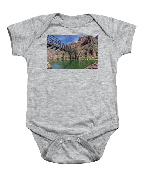 Black Bridge Over The Colorado River At Bottom Of Grand Canyon Baby Onesie
