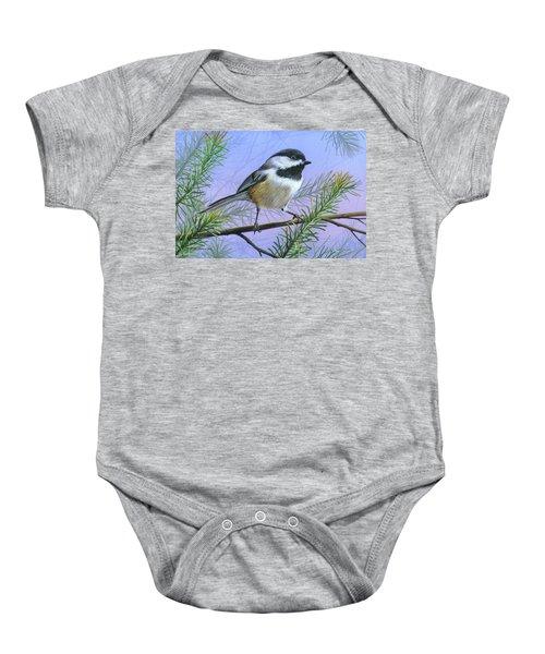 Black Cap Chickadee Baby Onesie