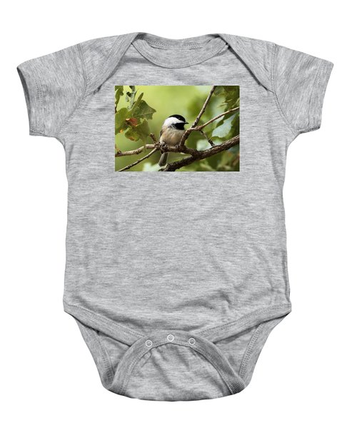 Black Capped Chickadee On Branch Baby Onesie