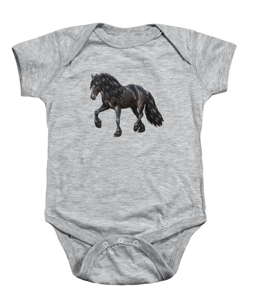 Black Friesian Horse In Snow Baby Onesie