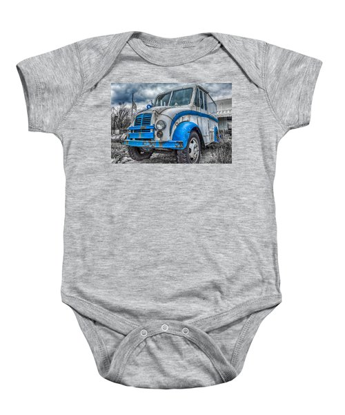 Blue And White Divco Baby Onesie