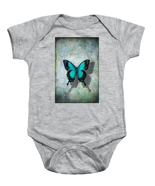 Blue Butterfly Resting Baby Onesie