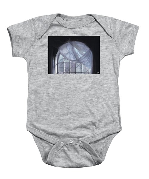 Hand-painted Blue Curtain In An Arch Window Baby Onesie