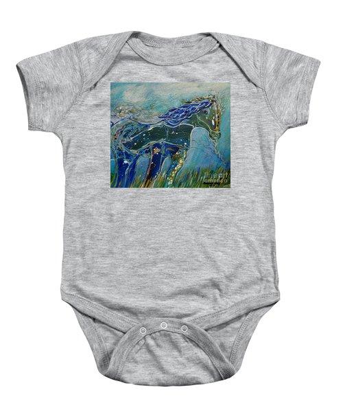 Blue Horse Baby Onesie