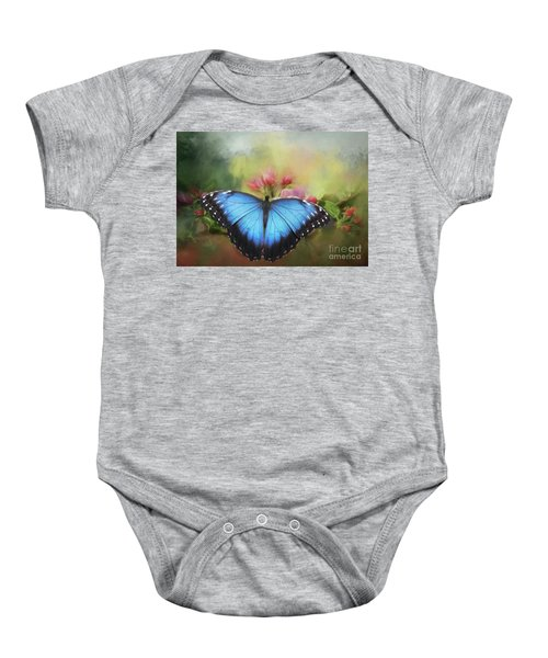 Blue Morpho On A Blossom Baby Onesie