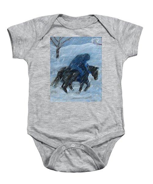 Blue Rider On Horse Baby Onesie