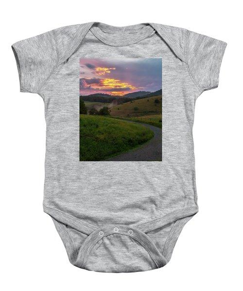 Blue Ridge Sunset Baby Onesie