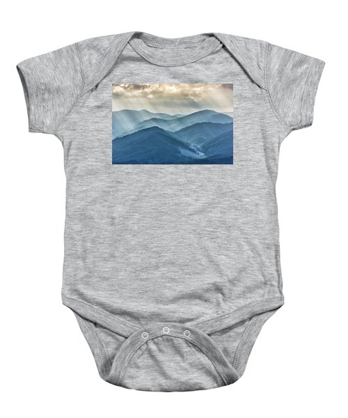 Blue Ridge Sunset Rays Baby Onesie