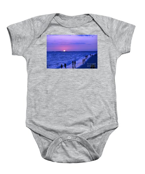 Blue Sunset On The Gulf Of Mexico At Fort Myers Beach In Florida Baby Onesie