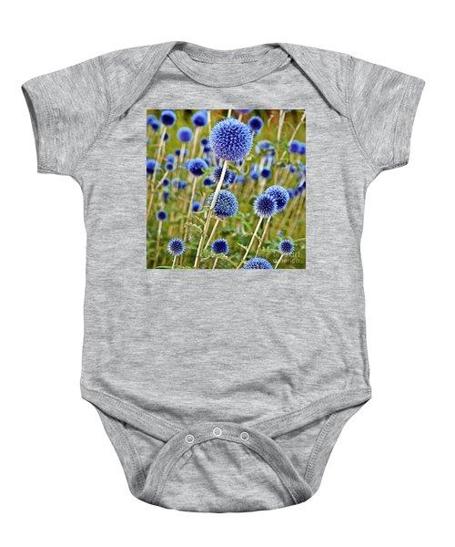 Blue Wild Thistle Baby Onesie