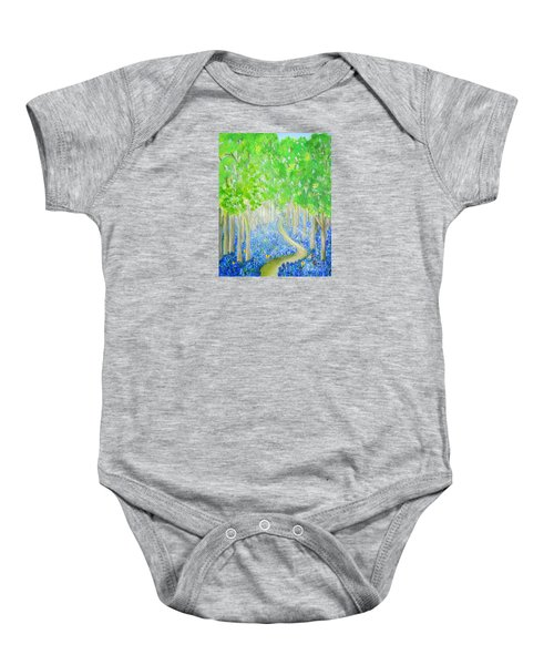 Bluebell Wood With Butterflies Baby Onesie