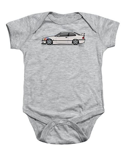 Bmw 3 Series E36 M3 Coupe Lightweight White With Checkered Flag Baby Onesie