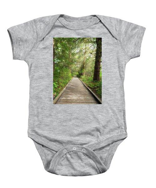 Boardwalk Along Hiking Trail At Fort Clatsop Baby Onesie